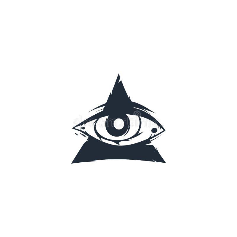 Один символ знака треугольника глаза иллюстрация вектора
