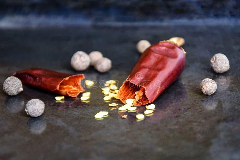 Один сломленный стручок горячего красного перца с семенами дальше на подносе старого металла черном, высушенного горького перца c стоковые фото