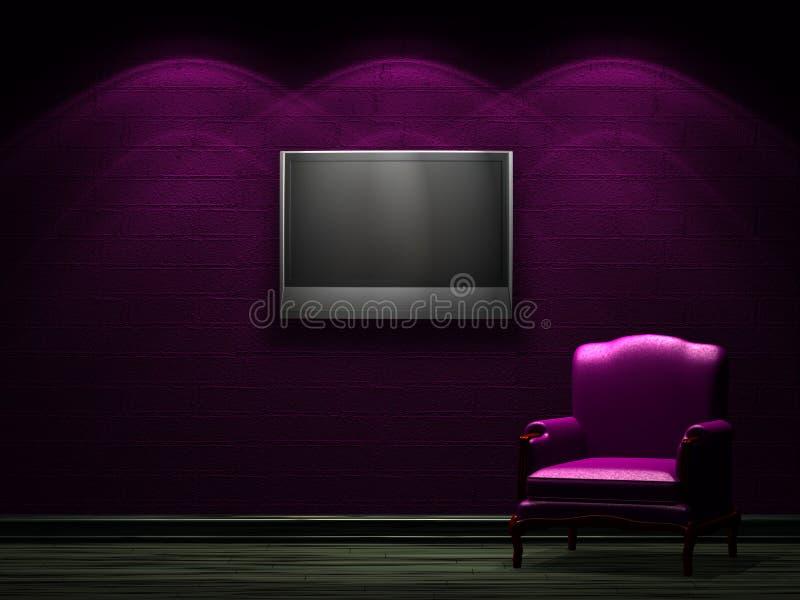 один стул lcd tv иллюстрация вектора