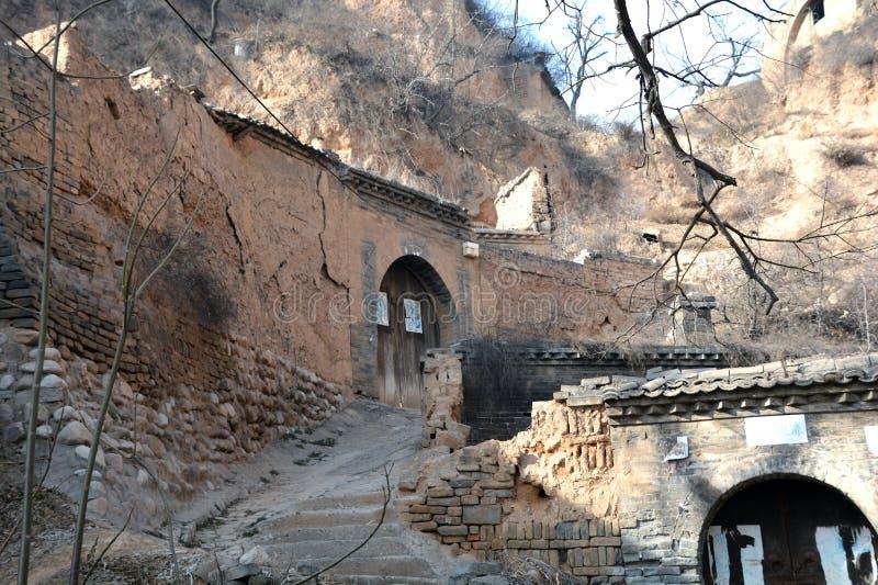 Один угол старой деревни в плато лёсса, Шаньси, Китай стоковое изображение