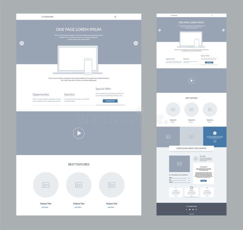 Один шаблон дизайна вебсайта страницы для дела Приземляясь wireframe страницы Плоский современный отзывчивый дизайн Шаблон вебсай иллюстрация штока