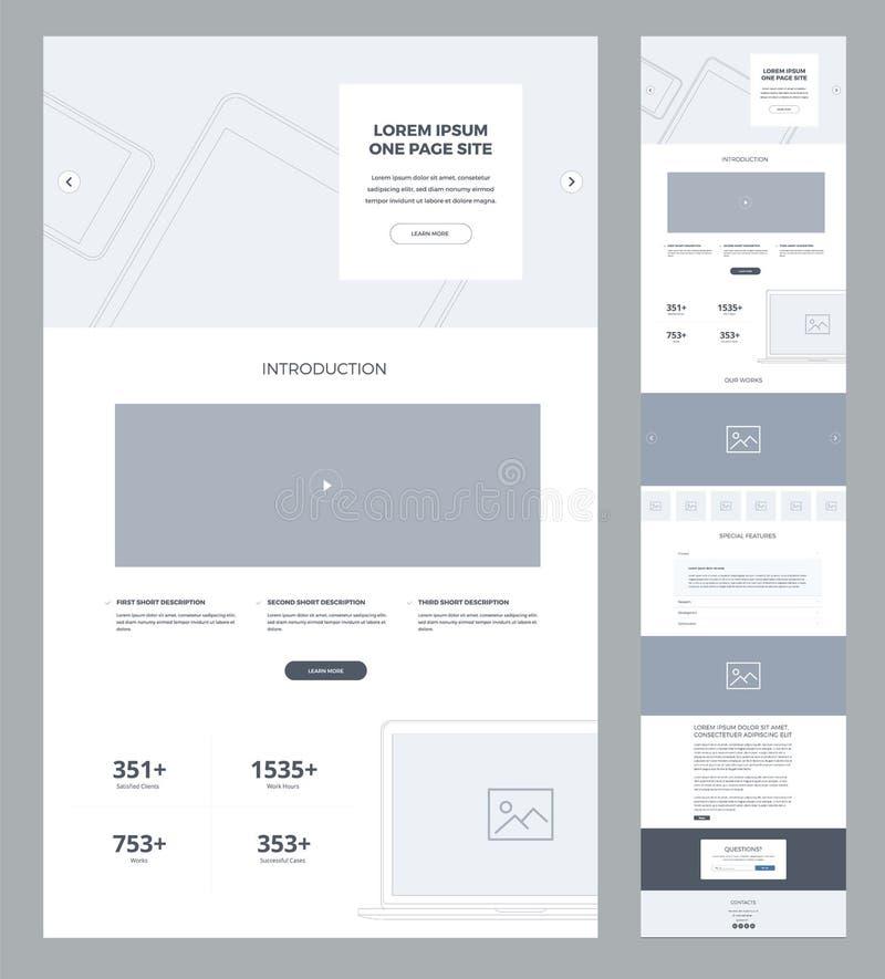 Один шаблон дизайна вебсайта страницы для дела Страница Wireframe посадки Плоский современный отзывчивый дизайн Вебсайт ui Ux иллюстрация штока