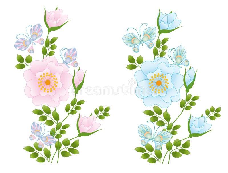 Одичалые розовые цветки и бабочки иллюстрация штока