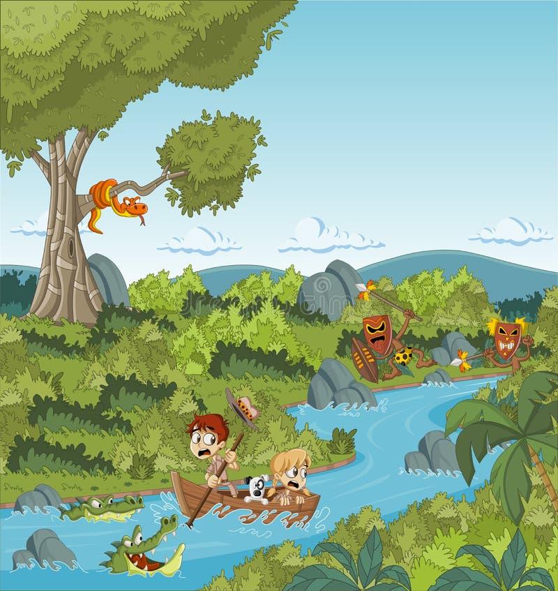 Одичалый лес с детьми шаржа на шлюпке иллюстрация штока