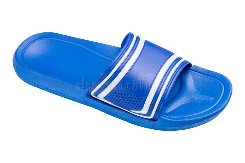Одна голубая резиновая тапочка для бассейна или ливня, взгляда со стороны, на белой предпосылке, изолят стоковая фотография rf