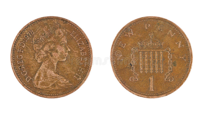 Одна изолированная монетка пенни стоковое фото rf