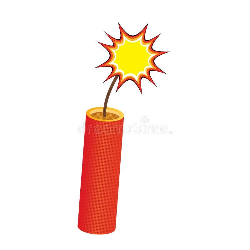 Одна красная ручка динамита, с горя фитилем иллюстрация вектора