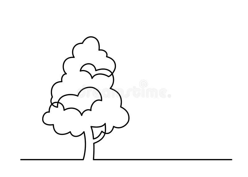 Одна линия дерево 5 иллюстрация штока