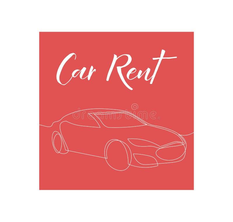 Одна линия дизайн плаката ренты автомобиля иллюстрация вектора