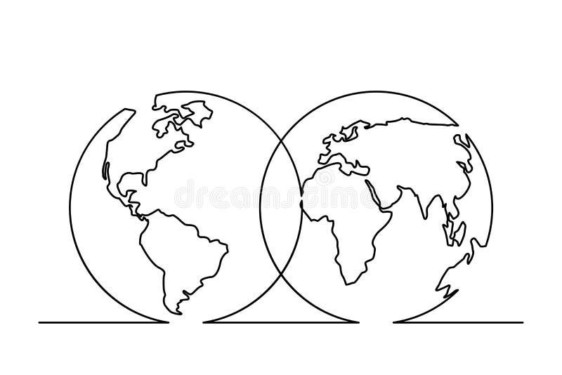 Одна линия карта бесплатная иллюстрация
