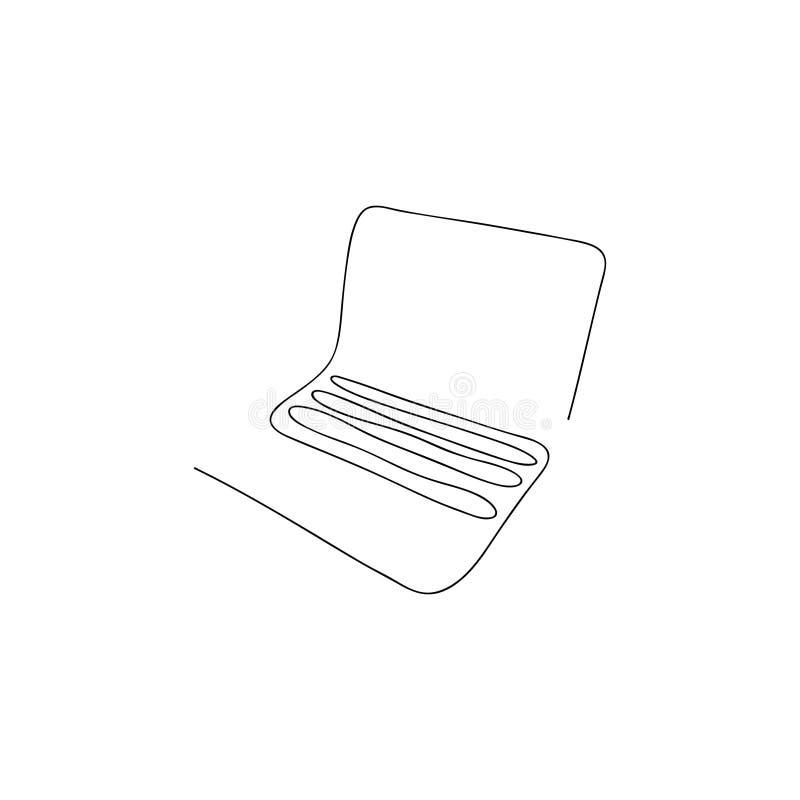 Одна линия компьтер-книжка Нарисованная рукой иллюстрация вектора иллюстрация вектора