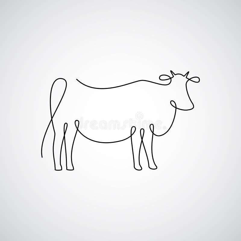 Одна линия корова иллюстрация вектора
