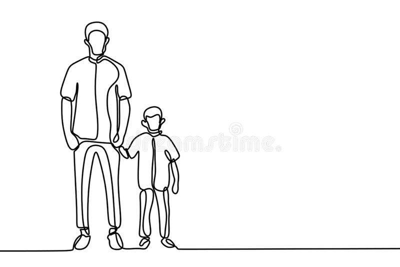 Одна линия отец чертежа и его дизайн сына минималистский иллюстрация штока