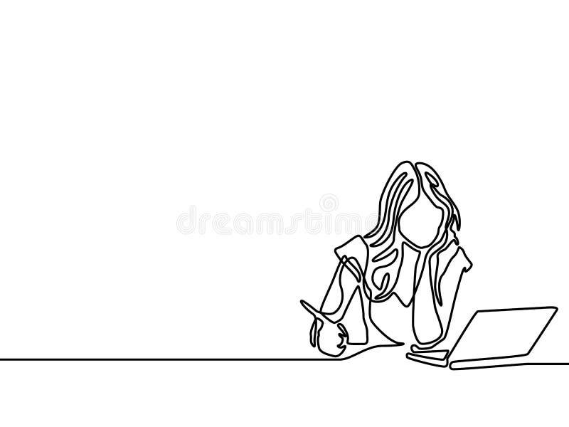 Одна линия сочинительство и исследование женщины с ноутбуком помощи r бесплатная иллюстрация