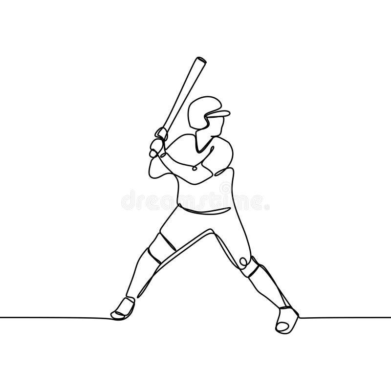 Одна линия чертеж бейсболиста готовый для того чтобы ударить иллюстрацию вектора шарика бесплатная иллюстрация