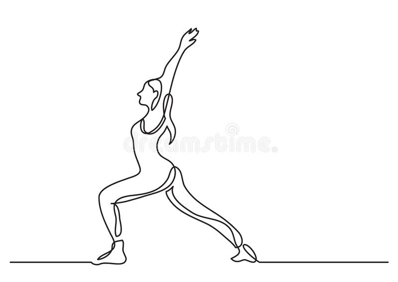 Одна линия чертеж женщины делая йогу иллюстрация вектора