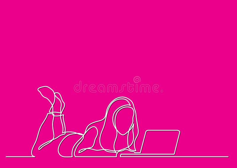 Одна линия чертеж женщины лежа с ноутбуком бесплатная иллюстрация