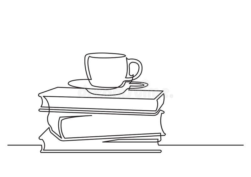 Одна линия чертеж изолированного объекта вектора - книги и чашка чаю иллюстрация штока