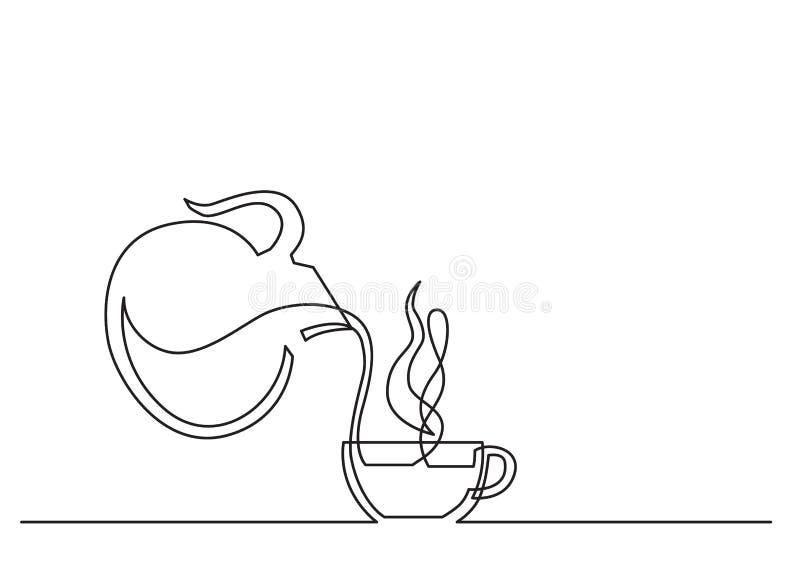 Одна линия чертеж изолированного объекта вектора - кофейная чашка и опарник бесплатная иллюстрация