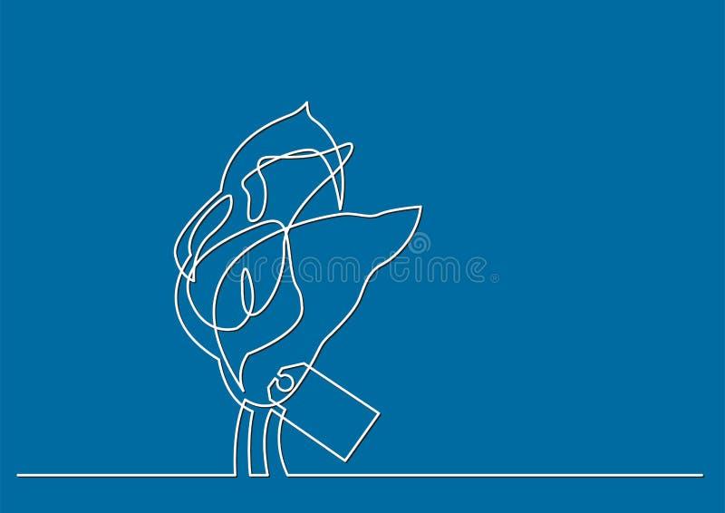Одна линия чертеж изолированного объекта вектора - цветков лилий calla иллюстрация вектора