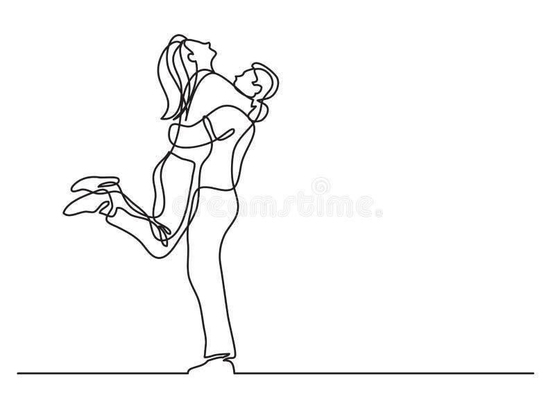 Одна линия чертеж обнимать пар иллюстрация вектора