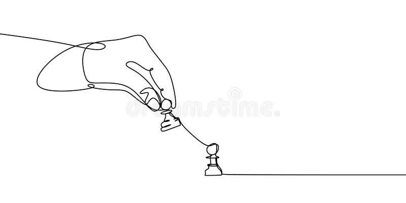 Одна линия чертеж пешки в чемпионате шахмат концепция проблемы, иллюстрация вектора игрока части удерживания руки минималистская бесплатная иллюстрация