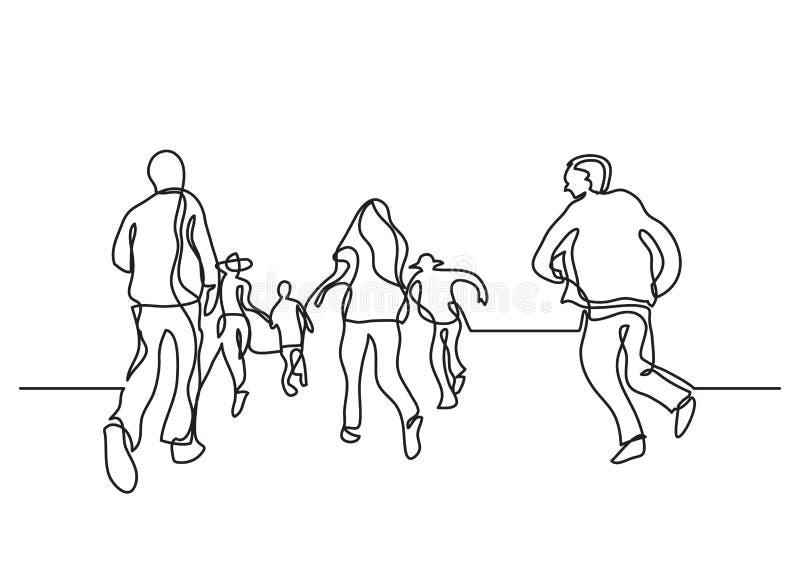 Одна линия чертеж счастливый скакать людей иллюстрация штока