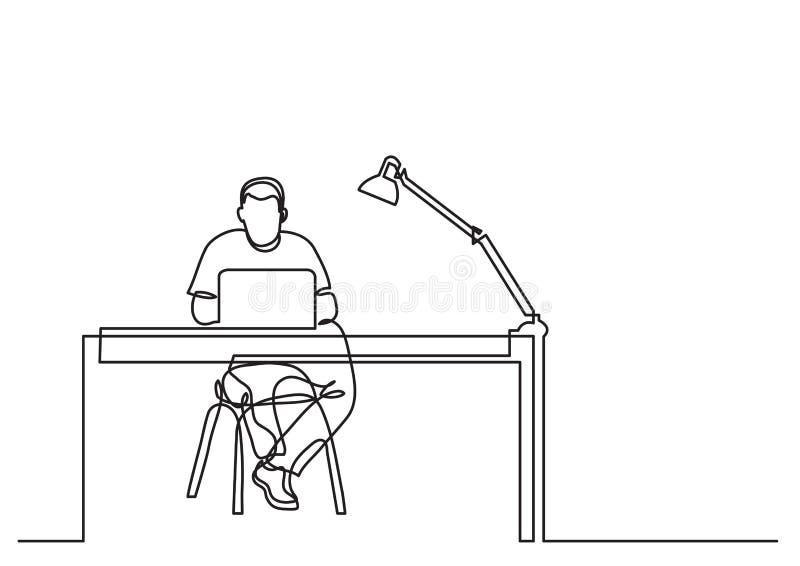 Одна линия чертеж человека работая с ноутбуком за столом иллюстрация вектора
