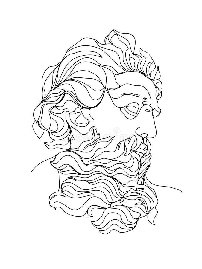 Одна линия эскиз чертежа Иллюстрация вектора скульптуры Современное искусство отдельной линии, астетический контур иллюстрация вектора