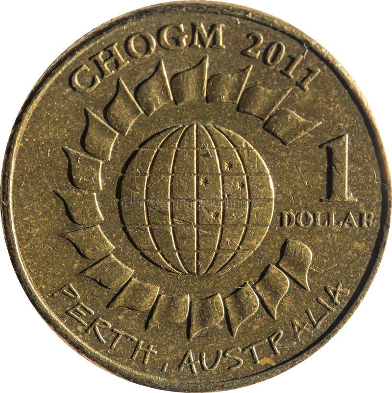Одна монетка доллара австралийская медная чествуя главы правительства государства встречая CHOGM в Перте, Австралии стоковое изображение