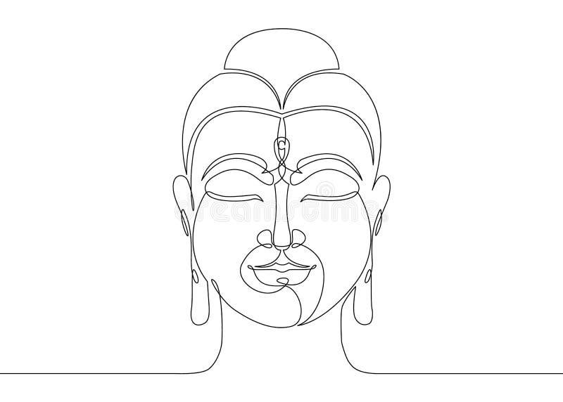 Одна непрерывная линия нарисованный Будда бесплатная иллюстрация