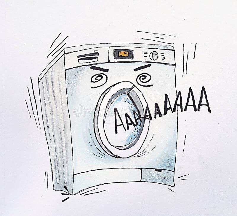 Одна стиральная машина с человеческим лицом, это взятия скид иллюстрация вектора