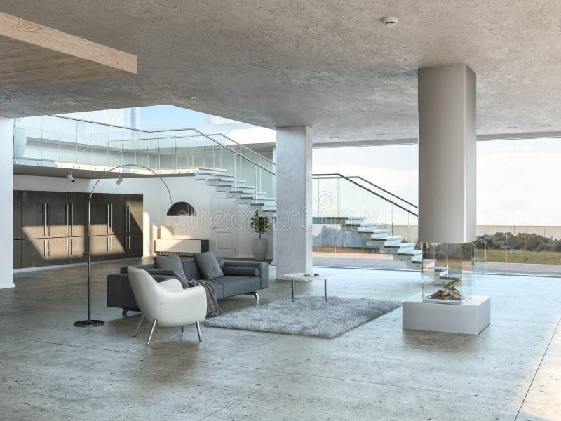 Однокрасочный интерьер живущей комнаты иллюстрация вектора