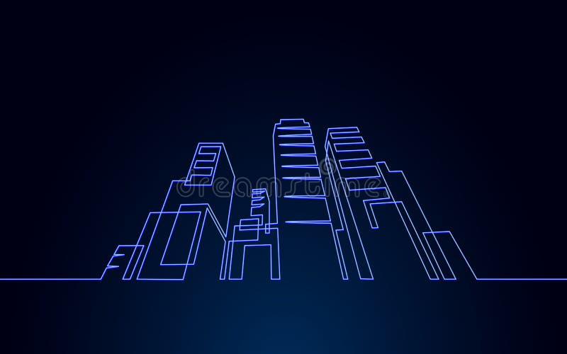 Однолинейное однолинейное строительное строительство архитектурный дом городской квартиры cityscape концепция проектирования бесплатная иллюстрация