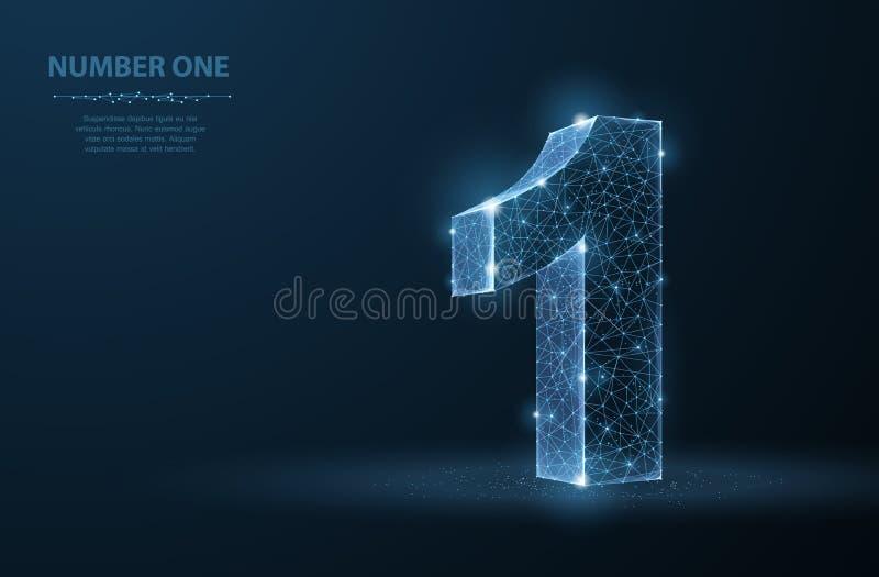 одно Абстрактная иллюстрация 1 вектора 3d изолированная на голубой предпосылке Торжество, успех, победитель, символ руководителя иллюстрация вектора