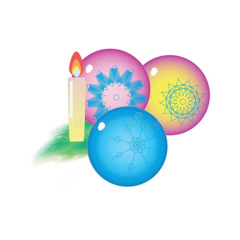 Одно закрытое свеча и 3 сияющих шарика, состав рождества бесплатная иллюстрация