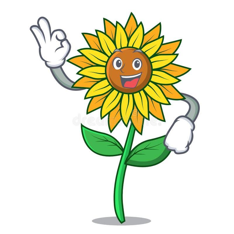 Одобренный стиль шаржа характера солнцецвета бесплатная иллюстрация