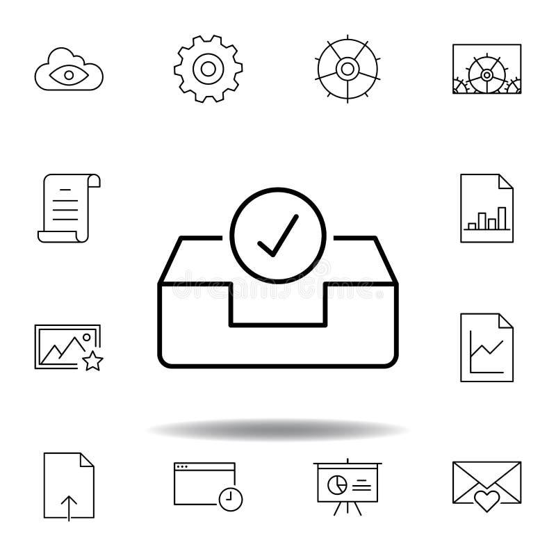 одобрите значок плана ящика входящей почты электронной почты коробки Детальный набор значков иллюстраций мультимедиа unigrid Смог иллюстрация вектора