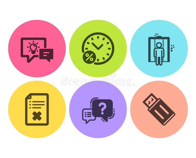 Одолжите проценты, файл брака и значки лифта набор Вопросительный знак, лампа идеи и знаки Usb внезапные вектор иллюстрация штока