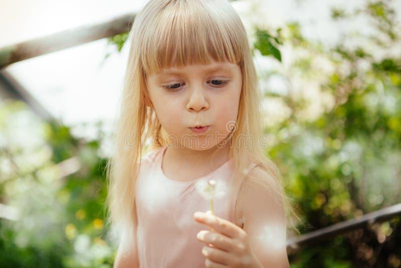 Одуванчик милой маленькой девочки дуя outdoors в парке летом стоковое изображение
