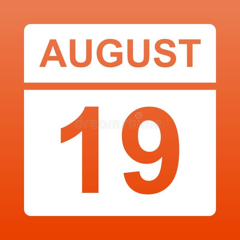 19-ое августа Белый календарь на покрашенной предпосылке День на календаре Девятнадцатая из августовской иллюстрации бесплатная иллюстрация