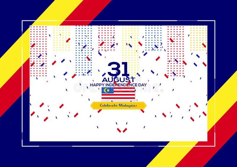 31-ое августа - дизайн Дня независимости Малайзии иллюстрации вектора патриотический Счастливая поздравительная открытка вектора  иллюстрация вектора