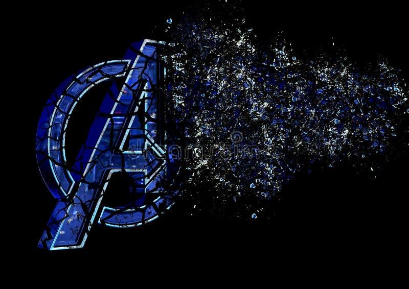 8-ое апреля 2019, Бразилия Эндшпиль мстителей логотипа Эндшпиль мстителей фильм произведенный студиями чуда Логотип трескает влия иллюстрация вектора
