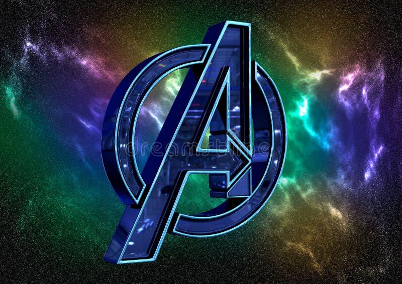8-ое апреля 2019, Бразилия Эндшпиль мстителей логотипа Эндшпиль мстителей фильм произведенный студиями чуда иллюстрация вектора