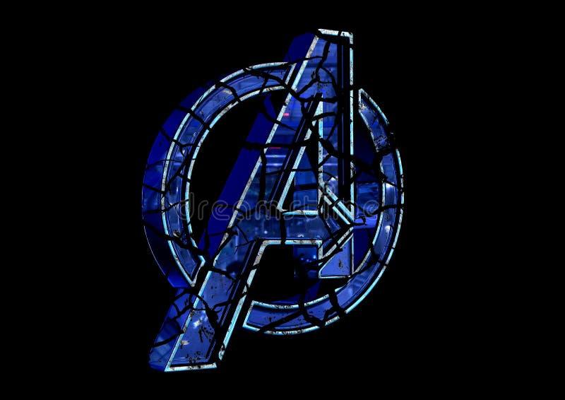 8-ое апреля 2019, Бразилия Эндшпиль мстителей логотипа Эндшпиль мстителей фильм произведенный студиями чуда Логотип трескает влия бесплатная иллюстрация