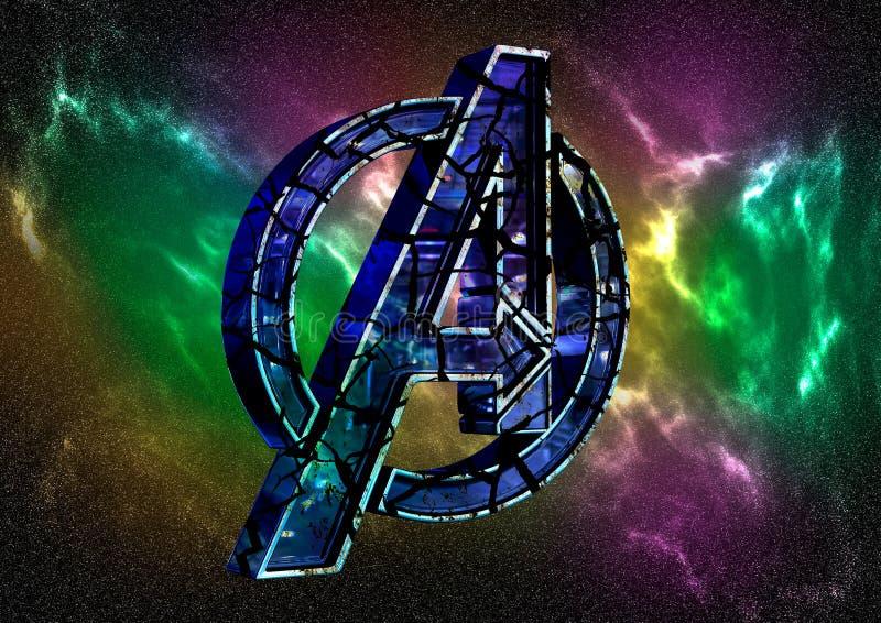 8-ое апреля 2019, Бразилия Эндшпиль мстителей логотипа Эндшпиль мстителей фильм произведенный студиями чуда Логотип трескает влия иллюстрация штока
