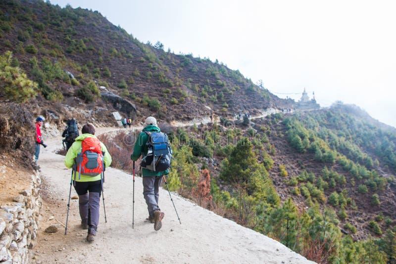 8-ое апреля 2018 - Непал:: trekker trekking на горе снега стоковое изображение rf