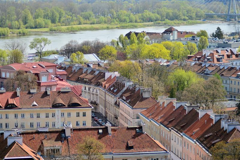 Вид с воздуха городка Варшавы старого стоковые изображения