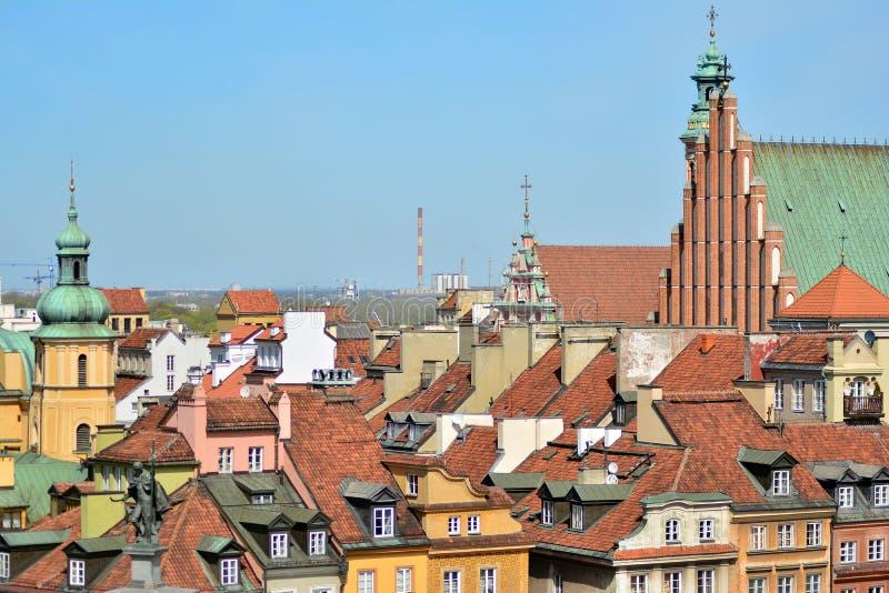 Вид с воздуха городка Варшавы старого стоковое фото rf