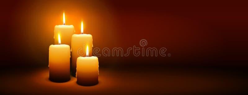 4-ое воскресенье пришествия - четвертой свечи - знамя панорамы света горящей свечи стоковые фотографии rf